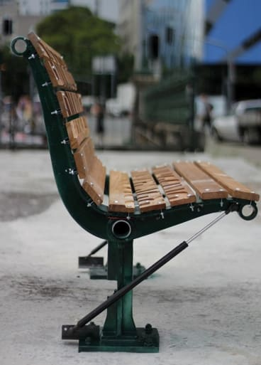 The Bitter Bench, mechanically rigged to tip people off when they sit, also  played recorded testimonies of the homeless.