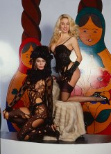 Late Italian porn star Moana Pozzi (right) with trans actress Eva Robin's on the TV show Matrioska in 1988.