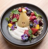 Muesli with maple-poached pear.