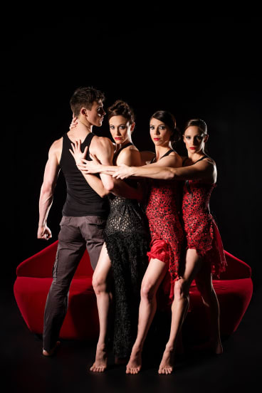 Dancing to their doom, from left, are Jack Ziesing and the three performers representing Carmen: Elise May, Riannon McLean and Samantha Mitchell.