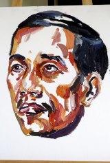 A painting by Bali nine ringleader Myuran Sukumaran of Indonesian President Jokowi Widodo.