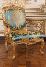Extraordinary blue-and-gold armchair made for Louis XV's mistress from Versailles.