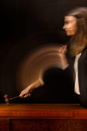 Auctioneer Olivia Fuller strikes the gavel.