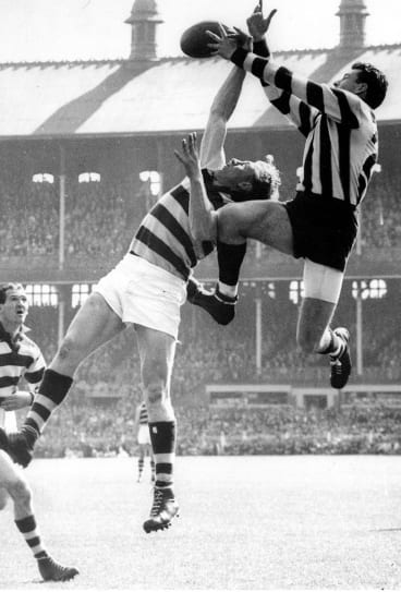 Mick Twomey takes a mark against Geelong in the 1953 grand final.
