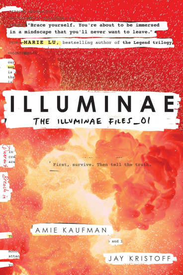 Cover of young adult book <i>Illuminae</i> by Amie Kaufman and Jay Kristoff.