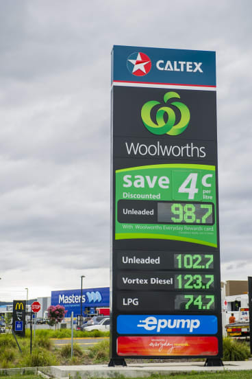 Caltex gets a shot in during the price war at Majura Park.