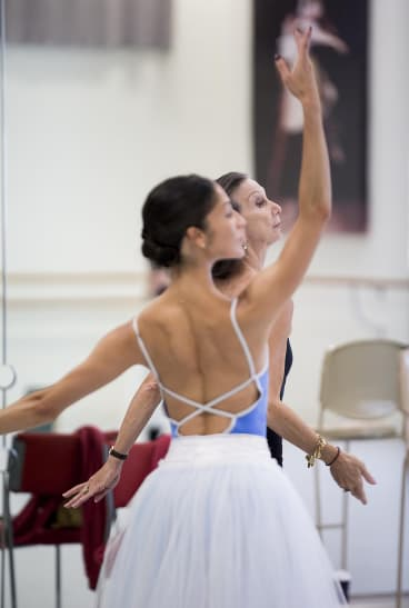 """Robyn Hendricks (front) and Maina Gielgud rehearsing the role of Myrtha in """"Giselle""""."""