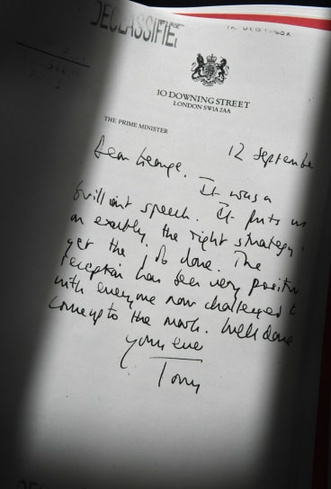 A declassified handwritten letter sent by Tony Blair to George W. Bush.