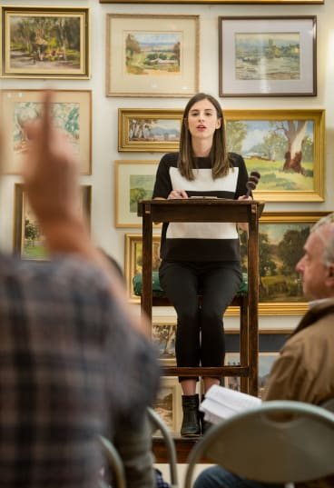 Auctioneer Olivia Fuller takes a bid.