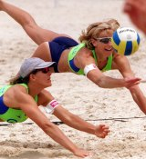 Famous Australian beach volleyballers Kerri Pottharst and Natalie Cook