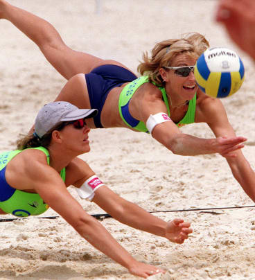 Famous Australian beach volleyballers Kerri Pottharst and Natalie Cook