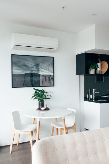 Katherine O'Byrne's 42-square-metre apartment is big enough for her  and her partner.