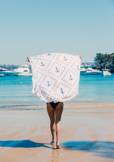 Grab a round beach towel at a reduced price.