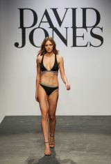 Jesinta Franklin making her catwalk (and swimsuit) debut for David Jones in 2015. This will be her fifth launch for the department store.