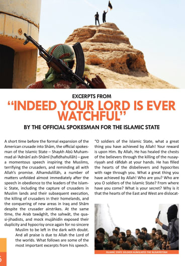 Propaganda war: an extract from <i>Dabiq</i>, Islamic State's online journal, which calls for radical action.