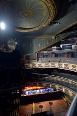 The tiered balconies inside the Palace Theatre.