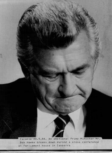 Bob Hawke breaks down during a press conference in Canberra in 1984. His daughters' struggles with drugs were viewed more sympathetically when he and then wife Hazel spoke out.