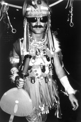 Peter Tully in his Urban Tribalwear outfit in the 1981 Mardi Gras parade.