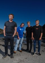 Simon Baker, Tim Winton, Samson Coulter and Ben Spence before the film's premiere.