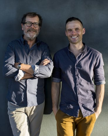 Tommy Murphy (right, pictured with Neil Armfield) is the Sydney Theatre Company's new Patrick White Fellow.