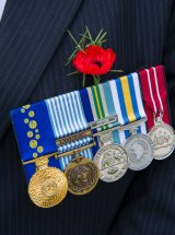 A Korean War veteran's medals.