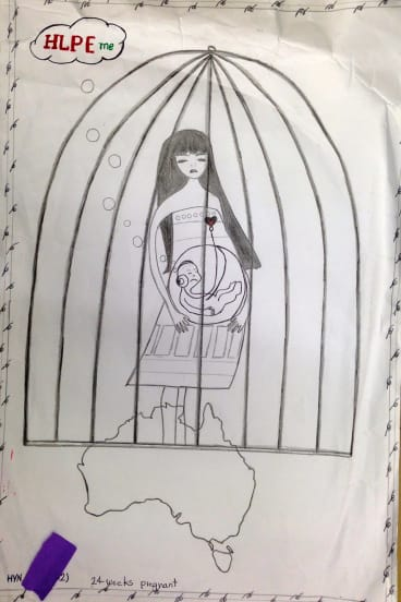 A drawing by a pregnant woman on Christmas Island, who asked if her baby could be adopted by an Australian family.