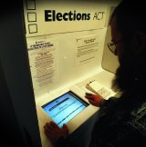 A prototype of the electronic voting booth first used in the 2001 ACT elections.