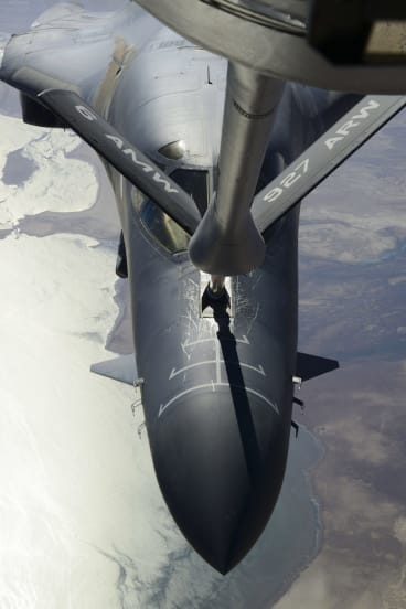 A KC-135 Stratotanker refuels a B-1B Lancer prior to US-led coalition air strikes on Islamic State group targets in Syria last year.