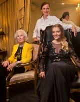 Lady (Primrose) Potter (left), Countess Primrose Krasicki and debutante Zofia Krasicki at Oglia-Loro Couture in South Yarra.
