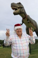 Clive Palmer with Jeff the T Rex.