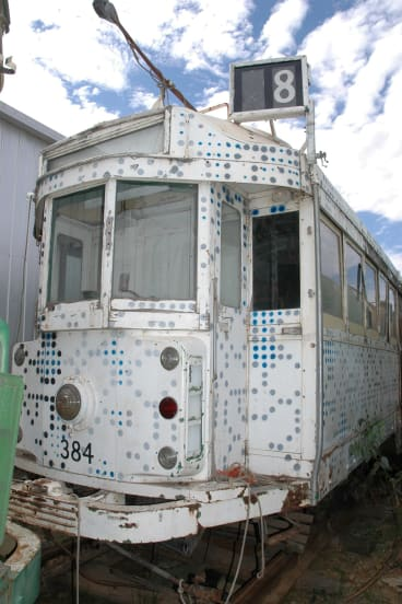 The Arkley art tram, owned by Chris Treganowan, is stored at an undisclosed location outside Melbourne.