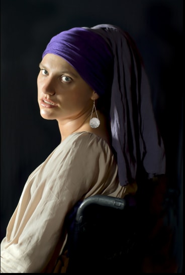 <i>The Girl With a Pearl Earring</i> by Cobie Moore. Moore was studying design and art education when she was injured in a balcony fall. She is determined to finish her degree and become a jewellery designer.