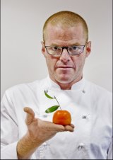 Creative consumption: Blumenthal with his chicken liver parfait, disguised as a mandarin.