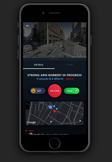 A screenshot of the Citizen app supplied by the creators.