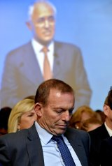 Tony Abbott listens as Malcolm Turnbull launches the 2016 election campaign.
