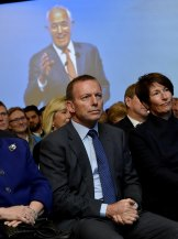 Tony Abbott at the Liberal Party campaign launch. Malcolm Turnbull could not defend Abbott's bloated 2013 majority.