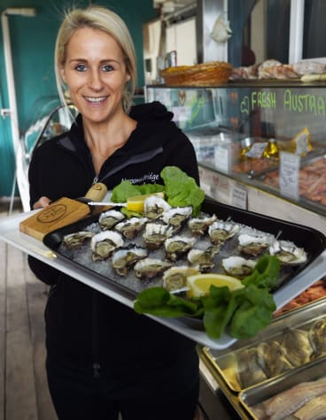 Ingrid Wiersema at Narooma Bridge  Seafoods with local oysters.