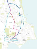 Suggested route options through Caloundra.