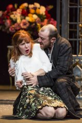 Matilda Ridgway (Ophelia) and Josh McConville (Hamlet) in the Bell Shakespeare production of <i>Hamlet</i>.