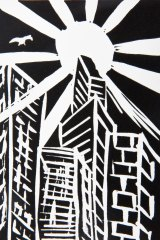 Rodney Mallee's linocut print City Sunlight.
