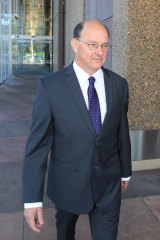 Dr William Russell Pridgeon, founder of the Australian Anti-Paedophile Party, leaves the Supreme Court on Friday.