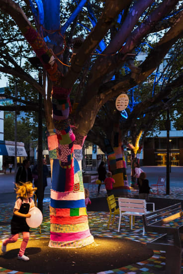 They gave drab, grey Garema Place a complete facelift, by adding moveable furniture, colour, lighting, yarn bombs etc. to test if people used the space in a different way.
