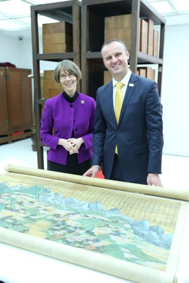 National Library of Australia director-general Anne-Marie Schwirtlich with ACT Chief Minister Andrew Barr last year.