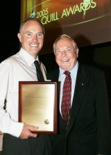 Michael Gordon and his father, Harry Gordon, celebrate after Michael won The 2005 Graham Perkin Award for Australian Journalist of the Year.
