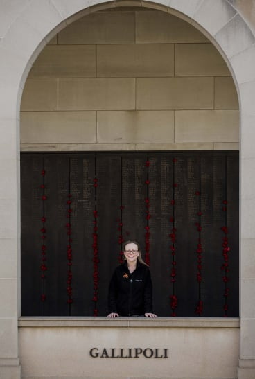 Olivia Watton of Melbourne was trying to find her family's name on the Australian War Memorial's wall of remembrance.