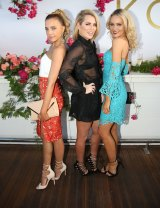 Olena with fellow The Bachelor stars Keira Maguire and Stef Dixon at the Kookai SS1617 launch on Tuesday.