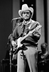 Merle Haggard at the Country Music Association Awards in Nashville, Tennesse in 1983.
