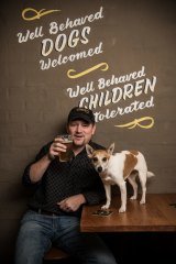 Peter Philip, the proprietor of the Wayward Brewing Co, with 5yo Jack Russell Quila.