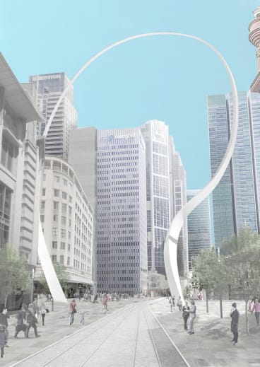 An artist's impression of the Cloud Arch sculpture, which will flank the new light rail along George Street.
