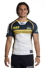 Matt Toomua in a sponsorless Brumbies jersey. The club was prepared to enter the season without a major shirt-front sponsor.